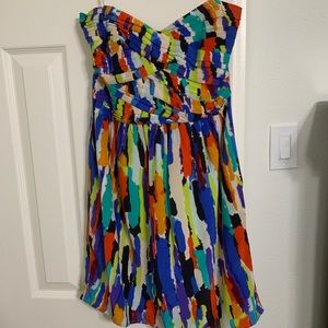 Strapless colorful mini dress
